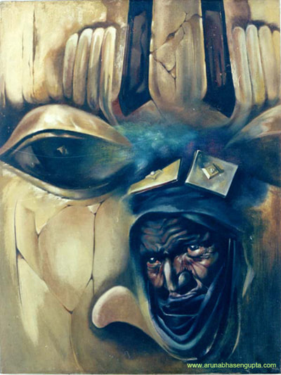 "Mask behind the man 30""x40"" Oil on canvas"